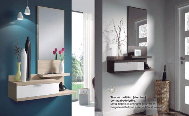 Recibidor colgado con cajón, repisas y espejo