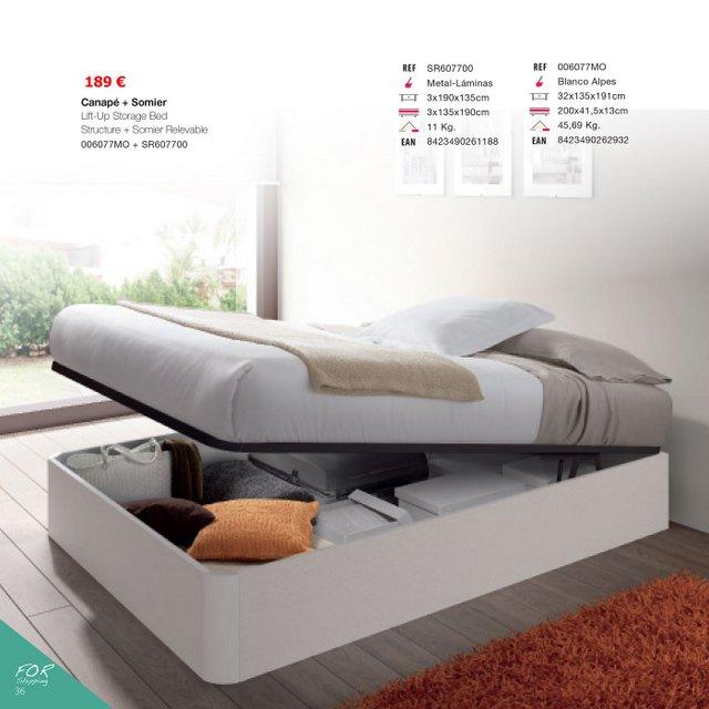 Cama canap elevable 135x190 brillo for Canape para cama 150