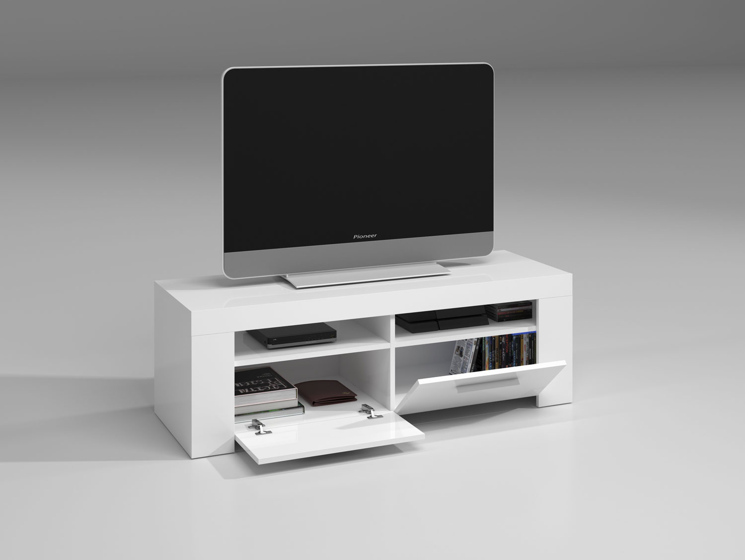 Mueble Tv Y Aparador En Blanco Brillo