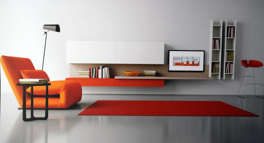 Salón blanco y naranja