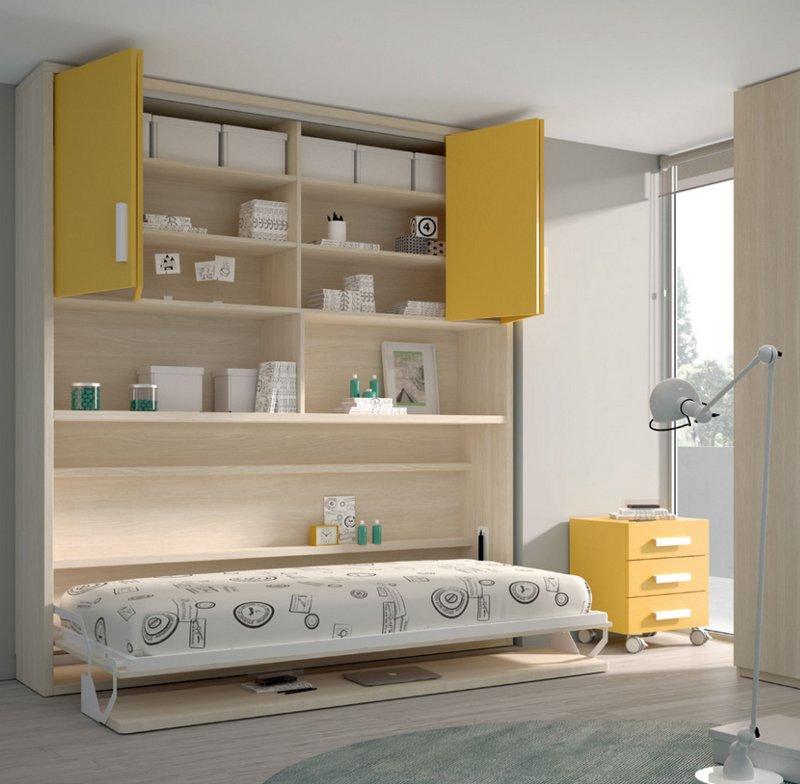 Cama abatible con mesa y armario alto