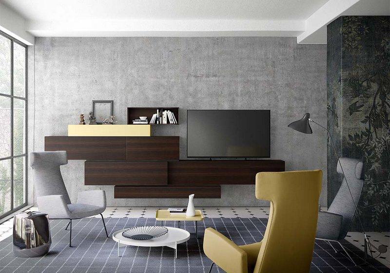 Frente sal n aparador colgado madera y laca for Muebles tv colgados