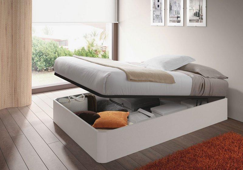 Muebles De Cocina Gijon : Cama canapé elevable cm blanco brillo