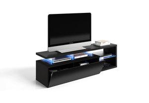Mueble Tv Led Tech negro con luz.