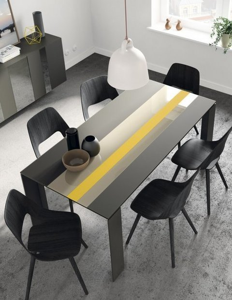 Muebles Kit - Mesa extensible Tavole, tapa franjas de cristal, pies laca chocolate. - Mkit