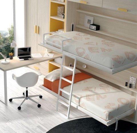 Dormitorio juvenil con litera abatible, comp 31