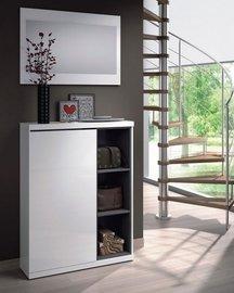 Recibidor zapatero Lux, con puerta, estantería y espejo.
